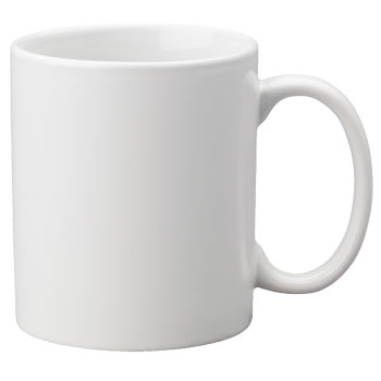 Terrill's white coffee mug, a logo of sorts