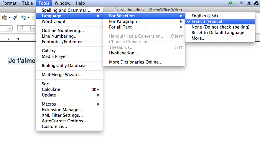 Screen shot of Language sub-menu in OpenOffice
