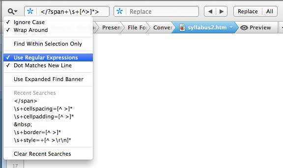 Screen shot from Coda showing the