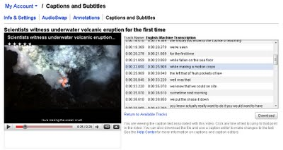 screen shot of the YouTube admin view, with captions displayed in a grid