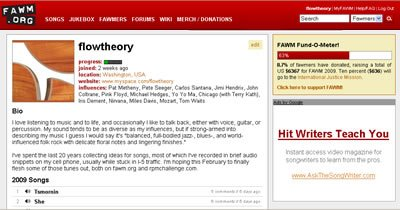 A screen shot of the Flow Theory home page on fawm.org