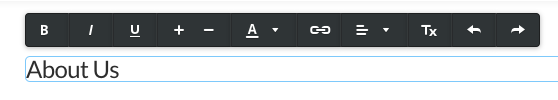 Weebly text editor toolbar, with no option for selecting headings