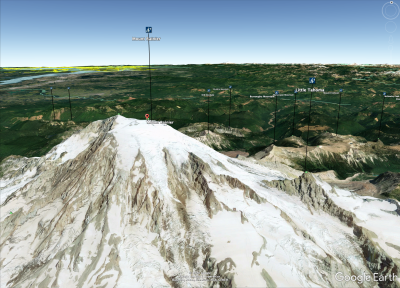 Screen shot of Peakware icons mapped onto Mount Rainier and surrounding peaks in Google Earth