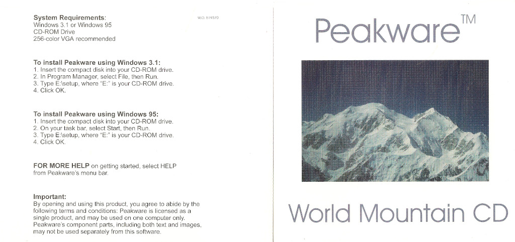 Cover, Peakware World CD; includes instructions for installing in Windows 3.1 and Windows 95