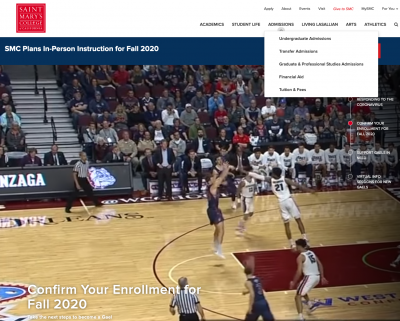 Screen shot of St. Mary's home page, featuring full screen basketball video and a dropdown menu