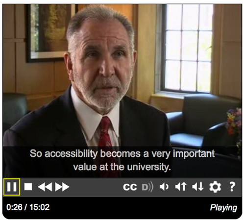 Screen shot of the IT Accessibility video playing in the accessible DO-IT video player
