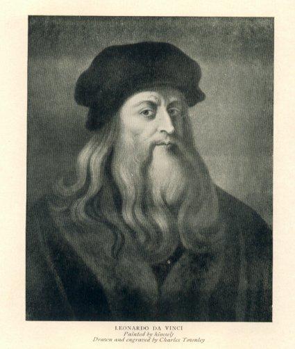 Leonardo Da Vinci with long flowing hair and matching beard