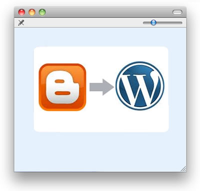 An arrow points from a Blogger icon to a WordPress icon