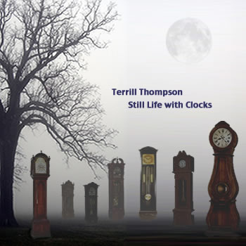 Cover art features several grandfather clocks standing lurking like tombstones in a fog-shrouded graveyard