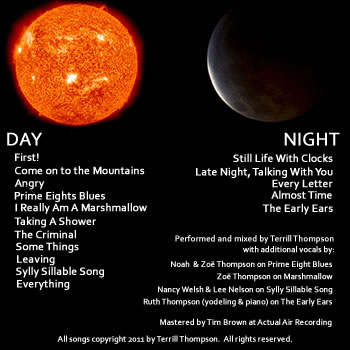 Back cover, divided into halves, Day (represented by a photo of the sun) and Night (represented by a photo of the moon). Each half includes the track listing for that volume