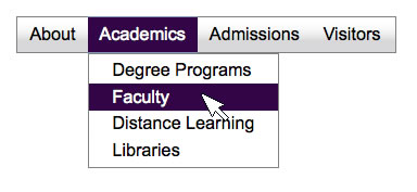 Screen shot of a dropdown menu with top-level menu items About, Academics, Admissions, and Visitors; the Academics dropdown menu is open and visible