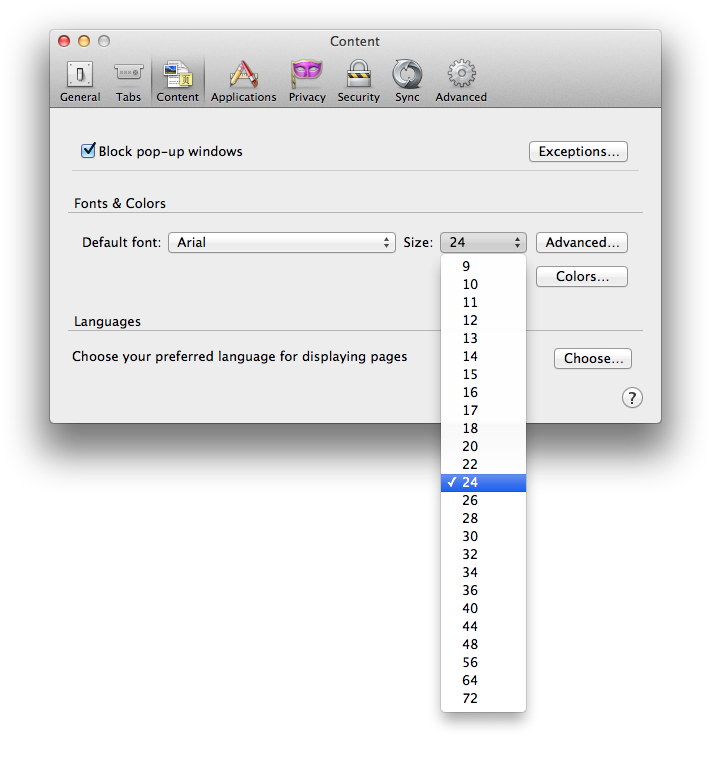 Screen Shot Of Firefox Preferences Dialog