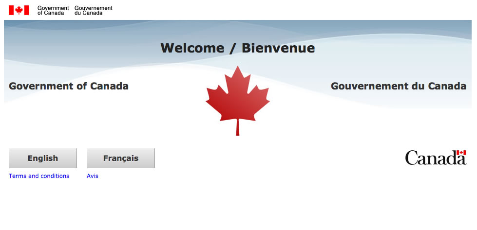 Screen shot of the Canada.ca home page. All content appears in both English and French
