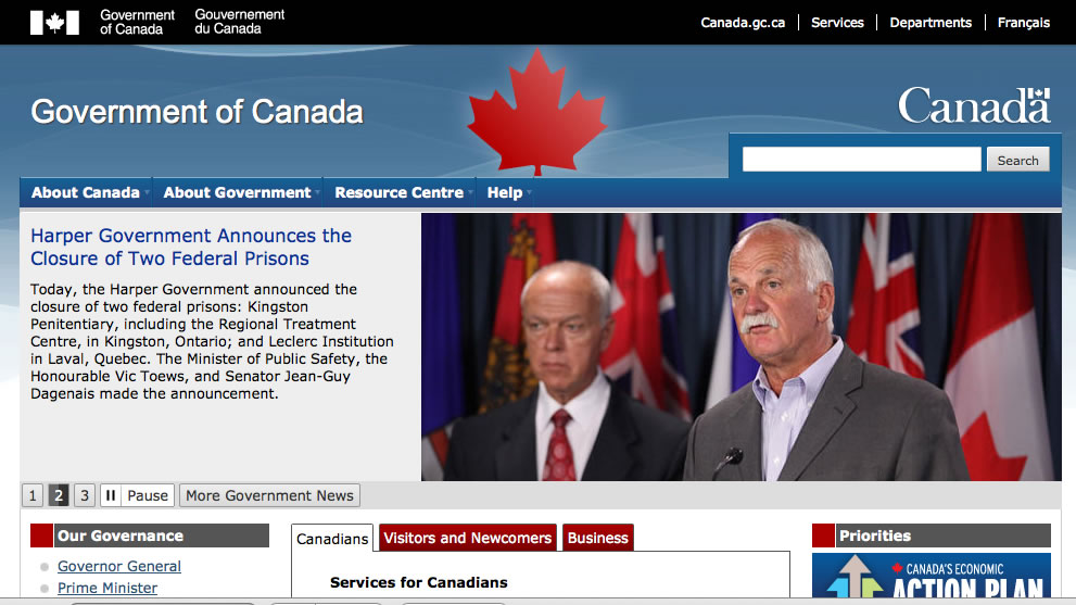 Screen shot of the English language site on Canada.ca