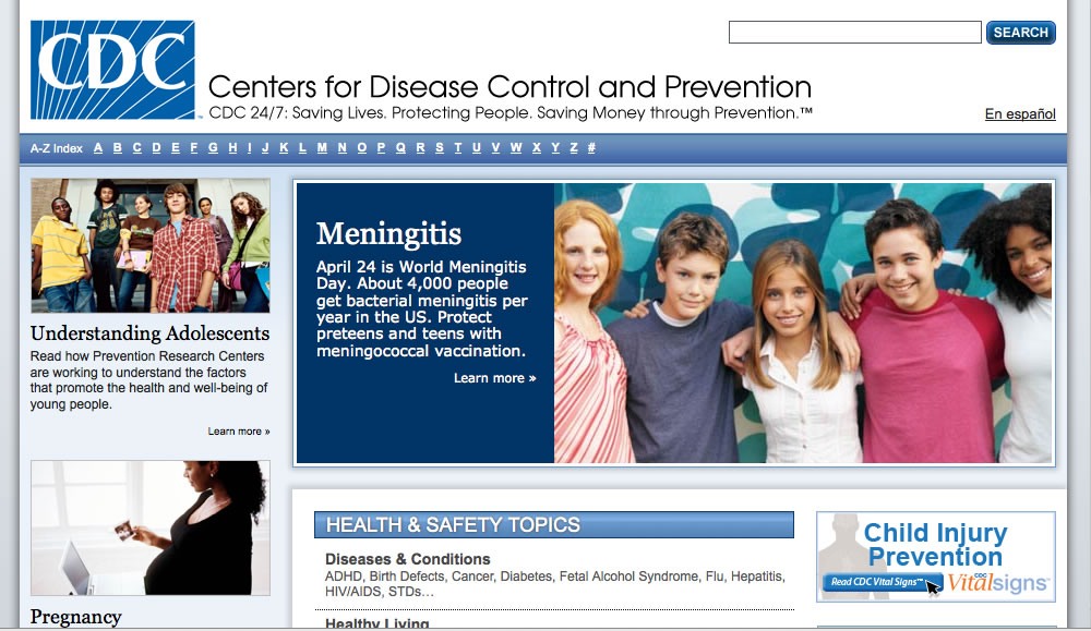 Screen shot of the CDC site