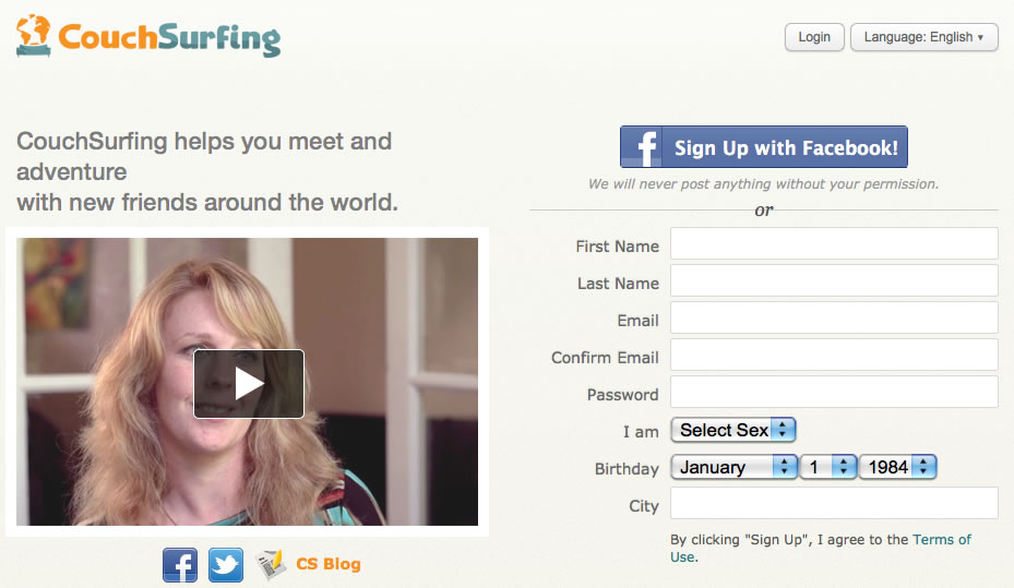 Screen shot of CouchSurfing.org
