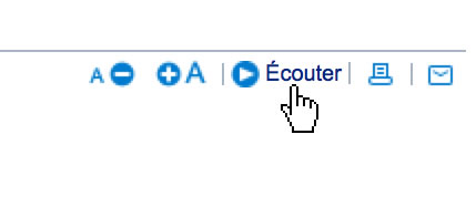 A play button on the French government website, with label Écouter