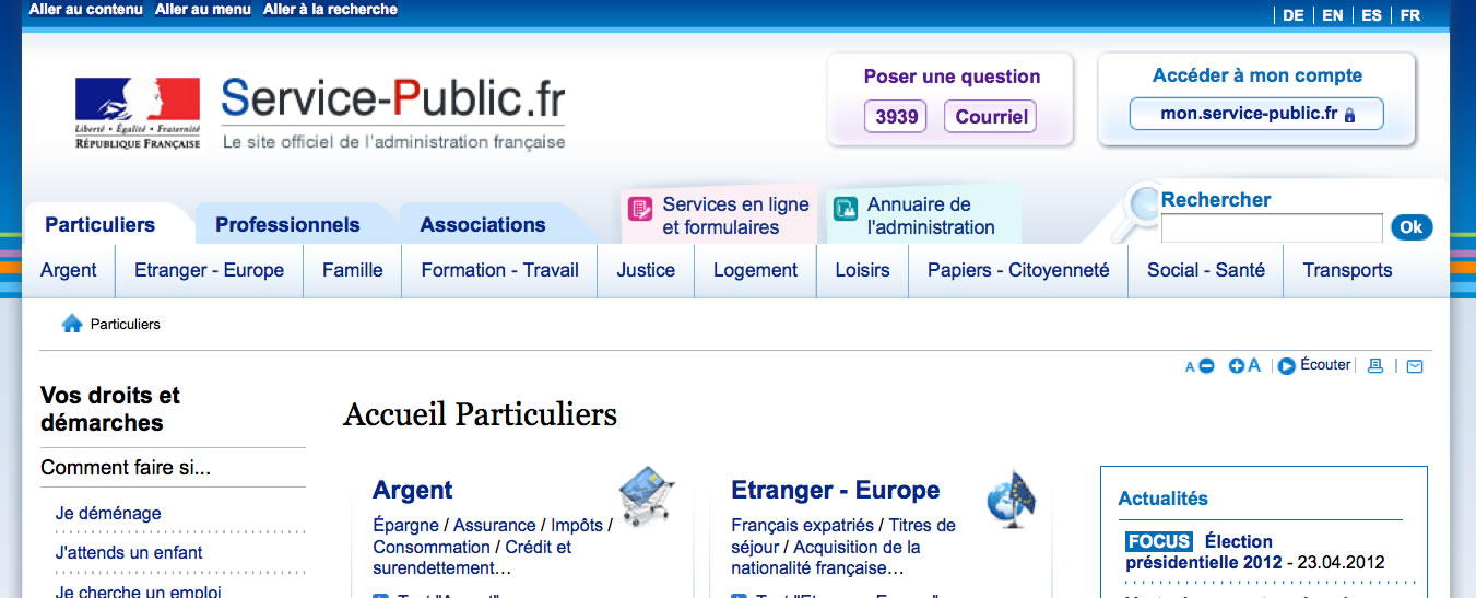 Screen shot of service-public.fr, the French government website