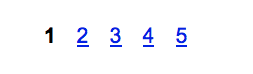 A pagination feature,  featuring the number 1, followed by the numbers 2 through 5, each of which are blue underlined links