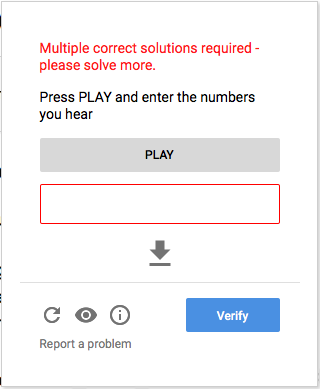 screen shot of audio CAPTCHA with an error message