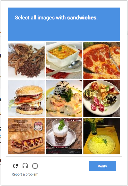 screen shot of CAPTCHA showing a grid of nine photos, with the prompt: Select all images with sandwiches