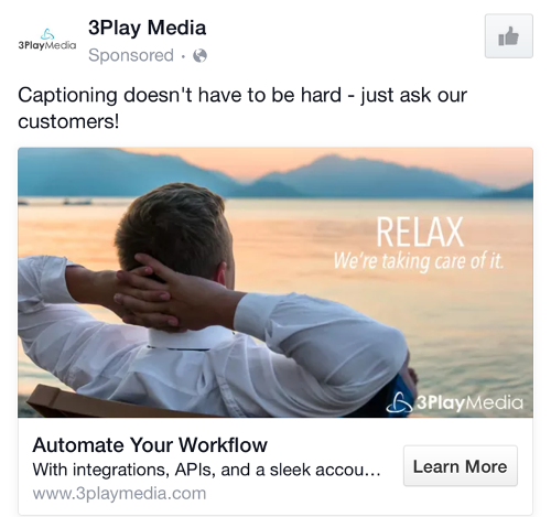 3PlayMedia ad, featuring relaxed man #2 with text overlay: RELAX. We're taking care of it.