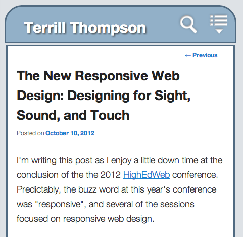 Screen shot of this blog post on a tablet computer