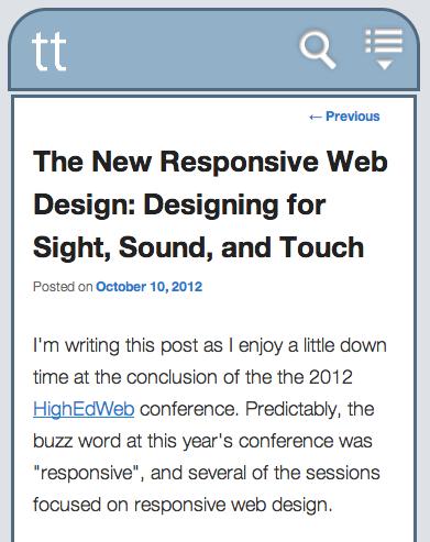 Screen shot of this blog post on a small-screen mobile device