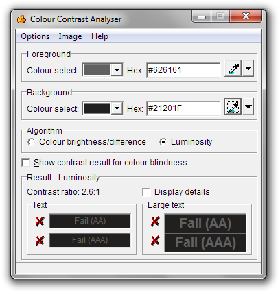 Screen shot of the Colour Contrast Analyser after sampling colors from the Firefox player: It fails all measures with a contrast ratio of 2.6:1
