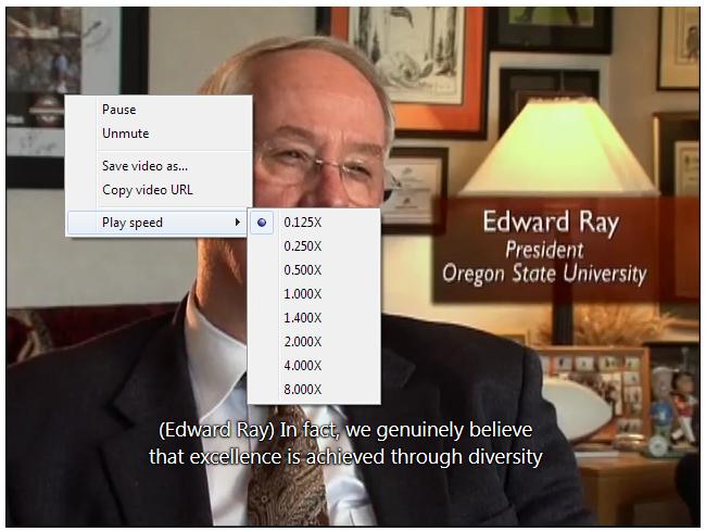 Screen shot of IE's playback speed menu