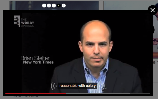 Screen shot of a Webby Awards video, with caption text: reasonable with celery