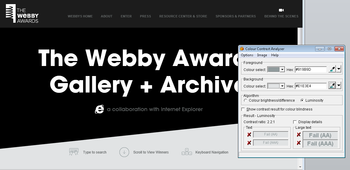 Screen shot of the Webby Awards website, with Colour Contrast Analyser showing FAIL results