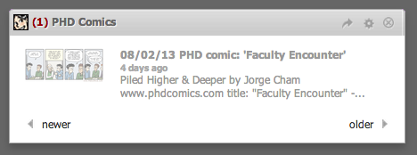 Screen shot of PHD Comics widget, showing a link and thumbnail; you have to click to read today's comic