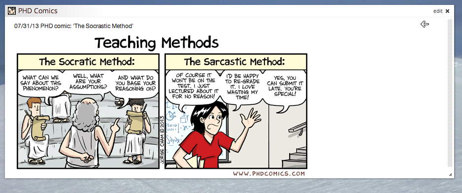 Screen shot of PHD Comics widget, manually resized so the entire comic strip is visible