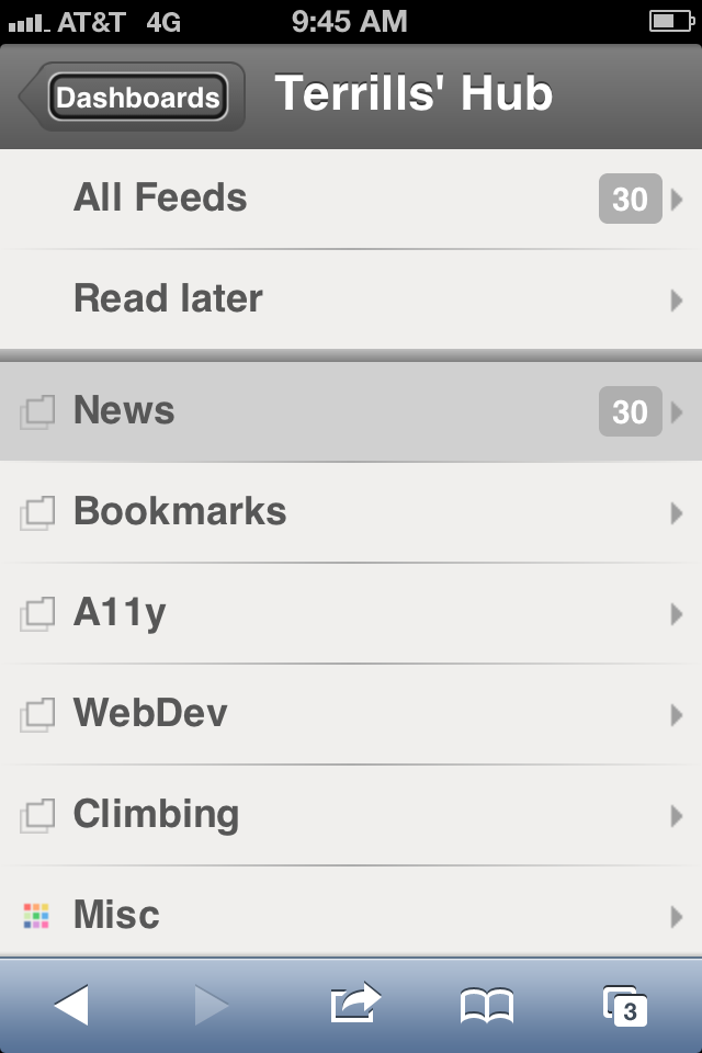 Screen shot of NetVibes on iPhone, a well-structured menu-based interface that is fully accessible using VoiceOver