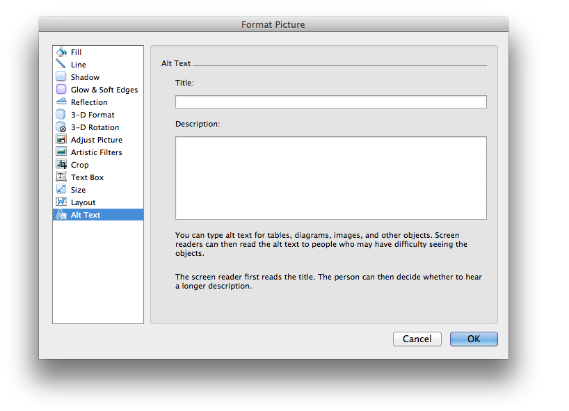 Screen shot of Word 2011's Format Picture dialog with Title and Description fields