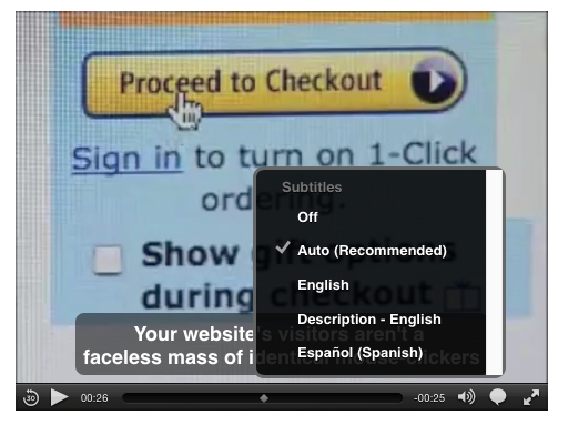 Screen shot of HTML5 media player in Safari with a Subtitles popup menu open; Descriptions is included among the  available options
