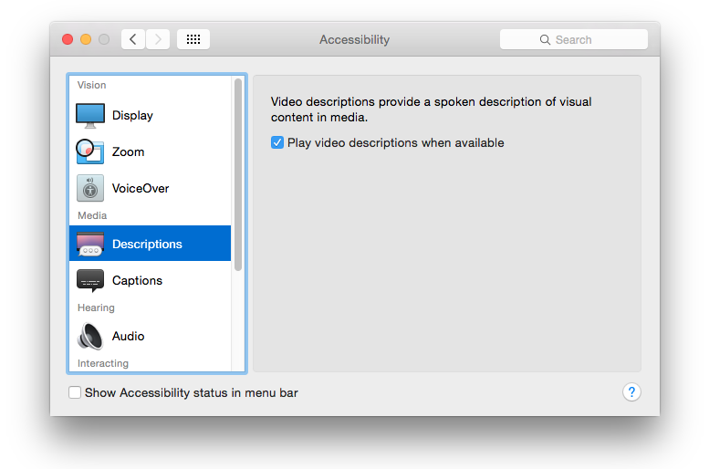 Accessibility dialog in Yosemite showing the video description checkbox