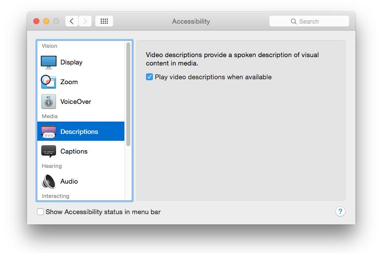 Accessibility dialog in Yosemite showing the video description checkbox