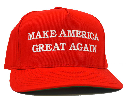 Red cap with text on the front: Make America Great Again