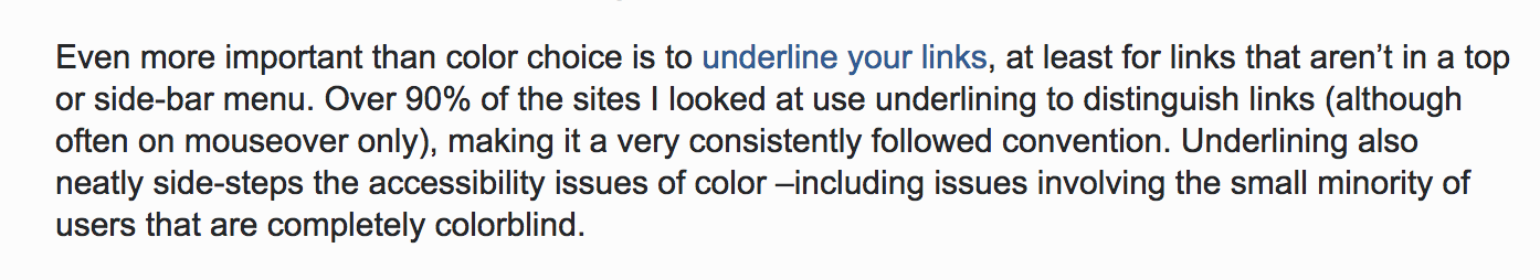 Screen shot of a paragraph from Stack Overflow, in which a user is encouraging people to 'underline their links', a phrase that itself is a link but is not underlined