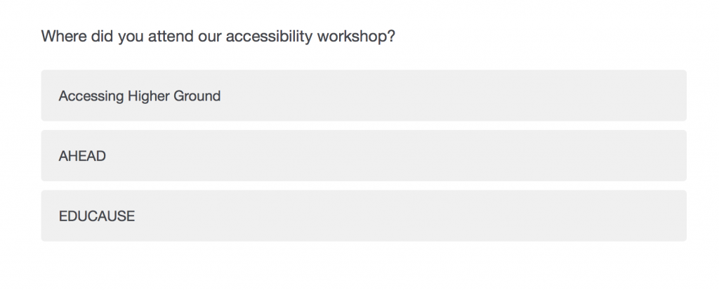 Screen shot showing a question with three answers in Qualtrics