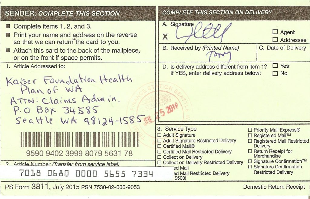 Scan of certified mail receipt, signed by Tony