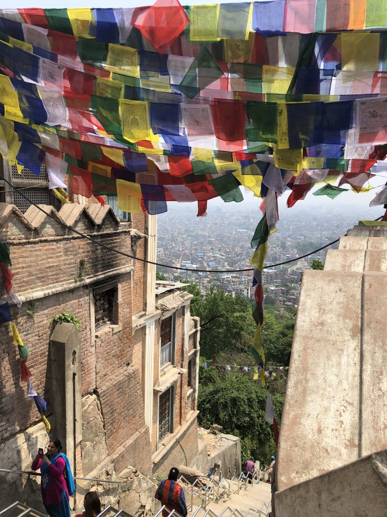 A virtual ceiling of prayer flags as seen from Swayambhunath Stupa (aka Monkey Temple), Kathmandu