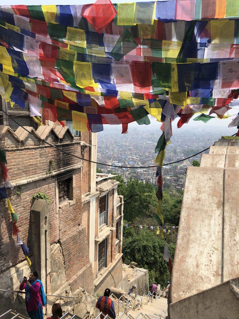 A virtual ceiling of prayer flags as seen from Swayambhunath Stupa (aka Monkey Temple), Kathmandu