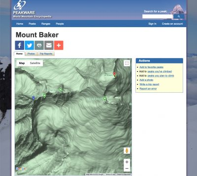 Mount Baker page on Peakware, featuring a Google Map
