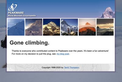 Screen shot of final Peakware page with heading: Gone Climbing