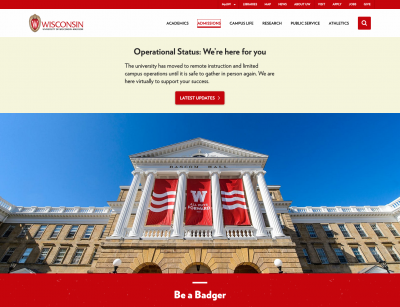 Screen shot of University of Wisconsin home page
